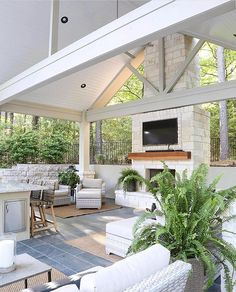 Outdoor Fireplace, Parade Of Homes, Home, Outdoor Kitchen Design, House Design, Outdoor Kitchen, Bedroom Paint Colors, Pool House, Pool Houses