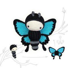 lalylala Häkelanleitung (druckbare PDF-Datei / 16 Seiten) ULYSSES FALTER - blauer Schmetterling, inkl. • Raupe • austauschbares Flügelset . . . . . . . . . . . . . . . . . . . . . ....
