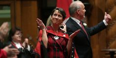 Melanie Mark, B.C.'s First Female Aboriginal MLA, Tears Up During Swearing-In Ceremony. She wore her grandmother's traditional red and black button blanket for the event.