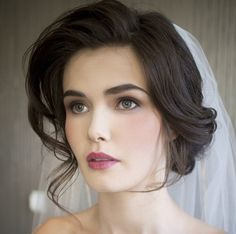 Perfect wedding updo with veil