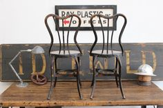 Pair of Vintage Antique Industrial Toledo UHL Soda Fountain Chairs by DorsetFinds