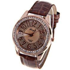 Lovely Crystal Bezel Leather Watch