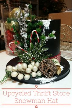 DIY Snowman Hat from Thrift Store Finds (Top Hat Centerpieces) Coffee Can Crafts, Tin Can Crafts, Diy Crafts, Diy Centerpieces, Christmas Centerpieces, Xmas Decorations, Christmas Snowman, Christmas Wreaths, Christmas Ornaments