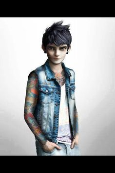 Punk disney Jack Frost: cool drawing idea but I would get rid of the tattoos and change his outfit a little bit