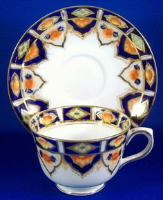 Imari Colors Cup And Saucer Heavy Gold Taylor And Kent England Cobalt Blue