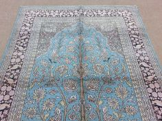Size:6 ft by 4 ft Handmade Blue Silk Tree Of Life by Carpetsmall