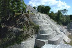 Yaxhá Temple 2 in East Acrópolis, note the round corners. This is the one used by night in CBS' Survivor Guatemala