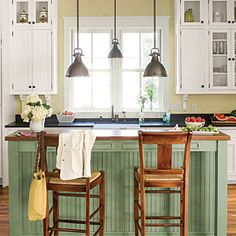 Decorate with Green | Nothing adds vintage, cottage appeal to a space like beaded board. Pair with warm wood, dusty green, and crisp white to complete the look. | SouthernLiving.com