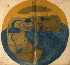 "world map from, ""marvels of things created and miraculous aspects of things existing"" by al-qazwīnī, 1283."