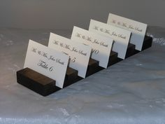 Rustic  Wedding 3 inch Wood Plank Place Card Holder- Set of 6  (holds 60  place cards). $60.00, via Etsy.