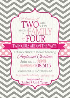 Pink and Fuchsia Chevron Twins Twin Girl Baby Shower Digital Printable Invitations $11