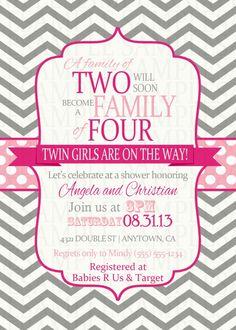 Pink and Fuchsia Chevron Twins Twin Girl Baby Shower Digital Printable Invitations $11