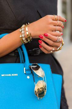 Michael Kors Selma top-zip satchel & aviator sunglasses