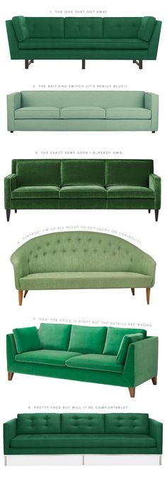 Furnishings and Decor: The Great Green Sofa Hunt of 2014 Home Furniture, Furniture Design, Green Rooms, Home And Living, Home Accessories, Upholstery, Room Decor, Interior Design, House Styles