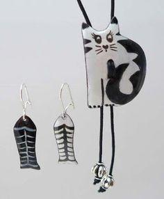 Conjunto gatito....miiaauuuu..., colgante ajustable y pendientes de esmalte sobre cobre con enganches de plata