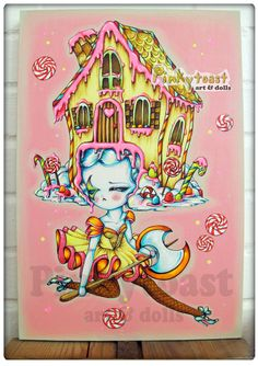 Original Painting-Gingerbread Candy Dancer-Gothic Big Eyed Ballet Fairy Tale Girl-12x18 Canvas-Pinkytoast Art. via Etsy. Art style DIY inspiration. Please choose cruelty free vegan art supplies