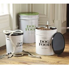 """ballard designs """"bon chien food canisters"""".  store your dog's food in style."""