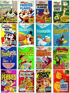 I wish all cereal boxes would go back to the vintage look. Brings me back to the good old days as a child, sitting 2 feet from tv eating my cereal. Cereal Packaging, Packaging Box, Vintage Packaging, Packaging Design, Retro Recipes, Vintage Recipes, Vintage Advertisements, Vintage Ads, Retro Advertising