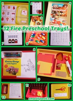 We finally revisit one of our favorite tot school themes: a week of Fire Preschool Trays! He loved the simple flame paper craft we did. Classroom Tools, Preschool Classroom, Preschool Learning, Educational Activities, Community Workers, Community Helpers, Tot Trays, Busy Boxes, Fire Safety