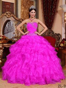 Beaded Lace-up Organza Sweet Sixteen Quinceanera Dresses in Hot Pink