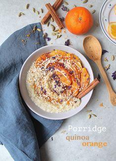 Porridge quinoa orange cannelle et cardamome - Orange cardamom cinnamon quinoa vegan porridge / oatmeal Cook A Life! by Maeva Vegan Porridge, Porridge Recipes, Fruit Recipes, Vegan Recipes, Plat Vegan, Sans Gluten Vegan, Brunch, Orange, Chia Pudding