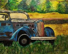 Old car in the rough Acrylics Car Ins, Old Cars, Acrylics, Antique Cars, Watercolor, Vehicles, Photography, Painting, Art