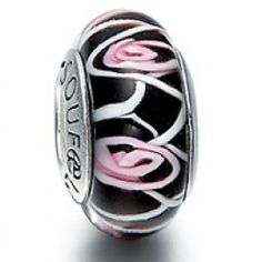 Black Spiral Flower Glass Bead