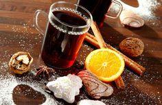 """"""" Glühwein (German Mulled Wine) A warm winter drink that tastes like Christmas. Recipes vary but the basics are red wine, spices, sweetening and fruit, heated together so. Fall Cocktails, Winter Drinks, Cocktail Drinks, Cocktail Recipes, Wine Recipes, Alcoholic Drinks, Spicy Drinks, Yule, Party"""