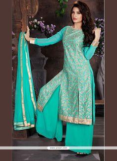 Divine Net Lace Work Designer Palazzo Salwar Kameez Model: YOS8428