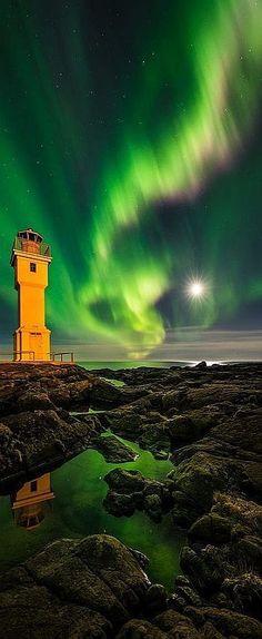 AURORA ICELAND #lighthouse #by Raymond Hoffmann on 500px