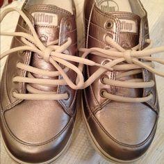 FitFlops 7B metallic lace up shoes Metallic silver-gold lace up FitFlop shoes never worn. Fit Flop Shoes