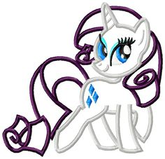 4x4 and 5x7 My Little Pony Rarity Applique by thewhimsybelle, $3.99