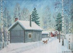Kalle Aaltonen: Talvi-aihe, öljymaalaus Birch Trees, Painting, Outdoor, Art, Outdoors, Art Background, Painting Art, Kunst, Paintings
