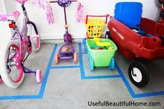 Painter's tape to mark out parking places for outdoor toys. It would teach kids to put things where they belong- and you'd have accountability (easy to see who didn't do their job)