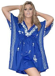 683c7b502b6ce La Leela Rayon White Embroidered Beach Swim Cover Up Tunic Kaftan Royal  Blue La Leela http