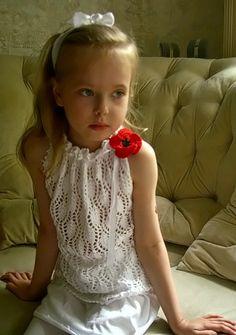 2Мои работы девочкам: кофты, свитера, туники, платья, комплекты белый ажурный топ