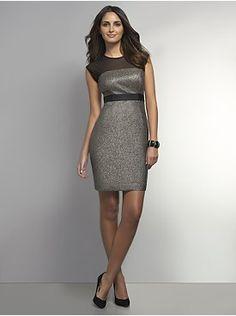 NY Shimmery Sheer Sheath Dress