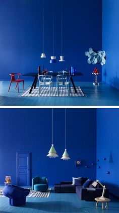 Playful and Lively Atmosphere Interiors, Blue Interior I Blue Color Palette Inspiration Interior Design Blogs, Interior Inspiration, Interior Decorating, Decorating Games, Blue Rooms, Blue Walls, Design Azul, Monochromatic Room, Home And Deco