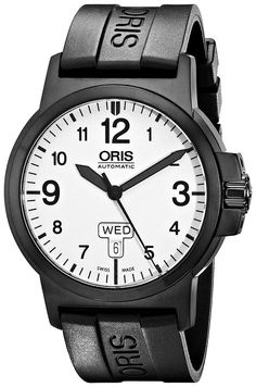 Oris Men's 73576414766RS BC3 Rubber Strap White Dial Watch