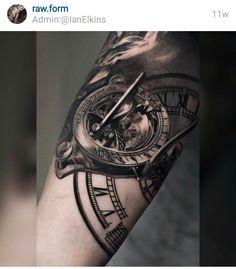 Adding to my sleeve someday... I dig this piece!   Pocket watch tatt, compass tatt, time piece tattoo