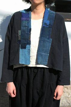 Antique black linen blouse with Japanese boro/Japanese style/French linen/boro cotton/over-dyed black/sashiko/hand stitched/handmade/280