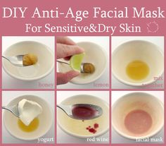 DIY Anti-Aging Red Wine Facial Mask, Helen Helz Nguyen (1) DIY recipe for sensitive and dry skin: - lemon juice - ½ tsp. honey - 1 tsp. yogurt - 1 tsp. red wine Mix all together.  If you have oily skin, try adding egg white into the mixture.