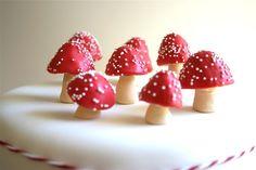 Chocolate filled mushrooms based after my very favorite kind of mushrooms, amanita muscaria