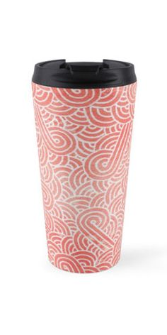 """""""Peach echo and white zentangles"""" Travel Mug by Savousepate on Redbubble #travelmug #pattern #abstract #zentangles #doodles #scrolls #spirals #pastel #pink #coral #salmon #peachecho #rosequartz #white #pantonecolors2016"""