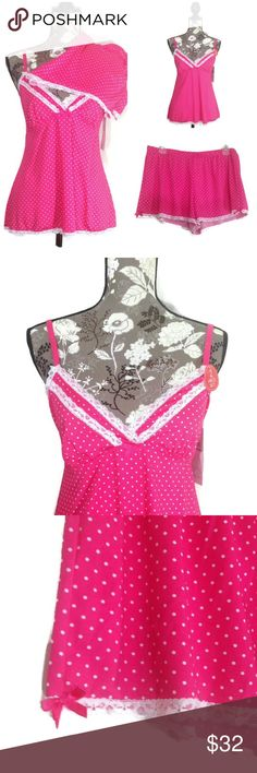 Marilyn Monroe 2 Pc Pajama Pink White Polka Dot Marilyn Monroe 2 Piece Babydoll Pajama Set   Cute Pink with White Polka Dots Size Large Adorable Bow and Lace Details on Top and Shorts MSRP $36.00 Marilyn Monroe Intimates & Sleepwear Pajamas