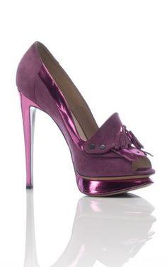 Fancy - Moda Operandi | Nicholas Kirkwood | Suede Open Toe Pump with Tassel Detail | $995