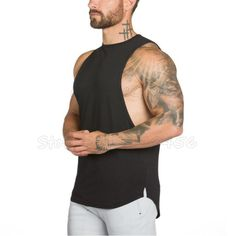 HUALA Mens Cotton Solid Color Round Neck Retro Muscle Car Fitness Tanks