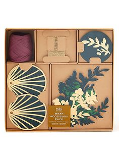 Luxury Green & Gold Christmas Wrapping Accessory Pack - 17 Pieces | M&S