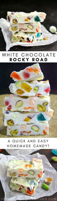 White Chocolate Rocky Road IS a fanciful hodge podge of snowy white chocolate, nuts, mini marshmallows and a colorful mix of jellied candies and dried fruit. #fudge #chocolate #bark #Christmascandy #foodgift #rockyroad #marshmallows #whitechocolate #homemadefudge #homemadecandy