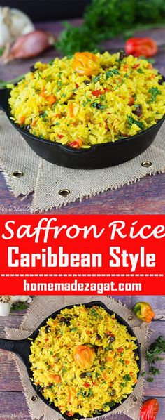 An aromatic rice dish seasoned up with saffron (turmeric) with carrots, peppers and raisins. Flavorful and delicious.
